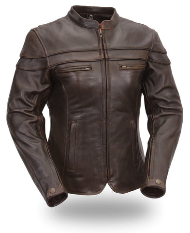 The Maiden Womens Black or Brown Soft Leather Touring Stylish Motorcycle Jacket