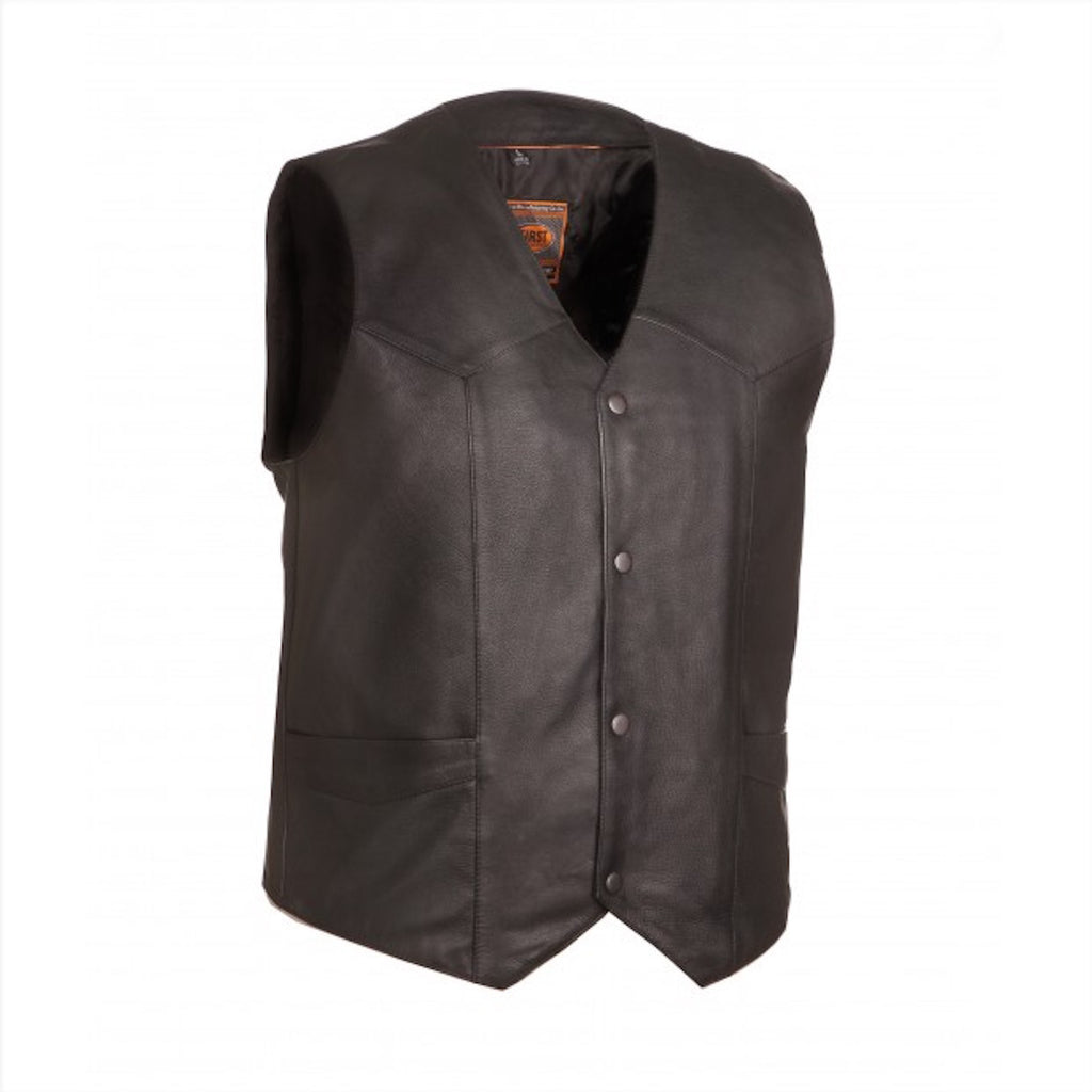 The Texan Mens Black Naked Leather Motorcycle Vest Gun Pockets