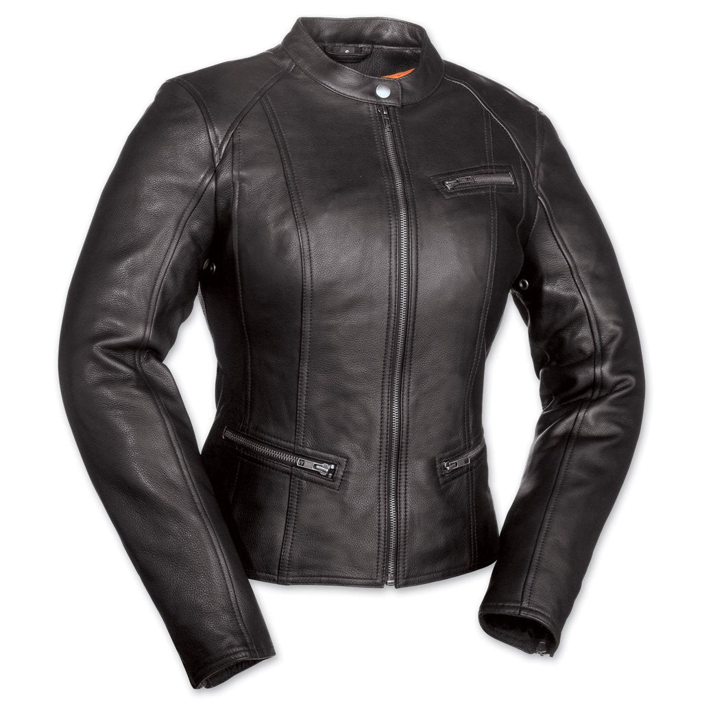 Fashionista Women's Black Leather Scooter Style Motorcycle Jacket