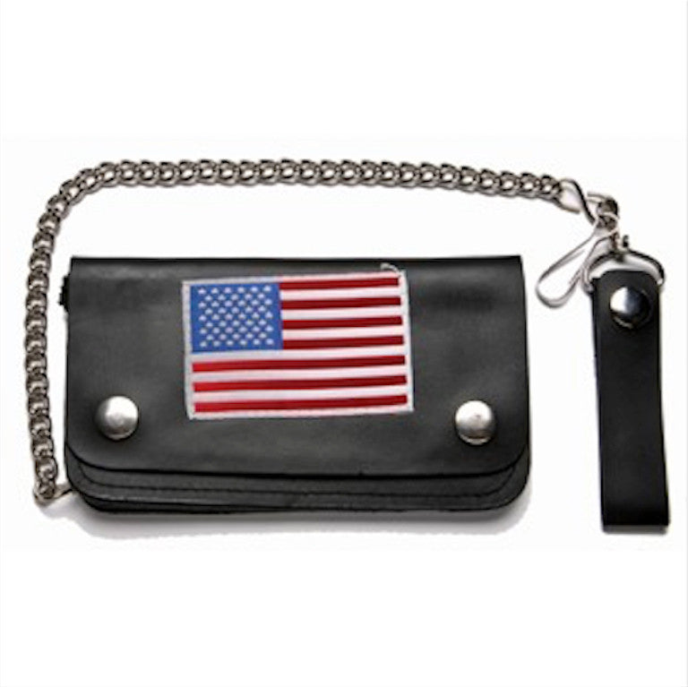 Black Leather Bifold Wallet American flag patch