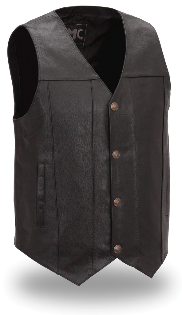 Mens Leather Motorcycle Vest Gun Pockets Solid Back Buffalo Nickel Snaps