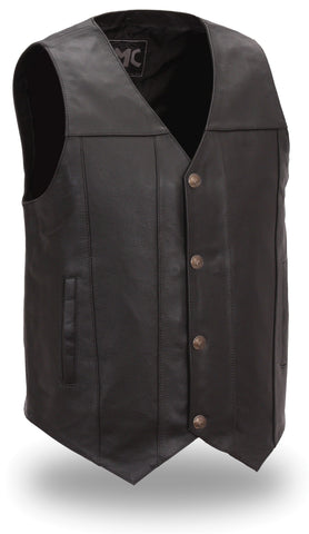 First Manufacturing Mens Leather Motorcycle Club Vest with Concealed Gun Pockets and Solid Back for Patches