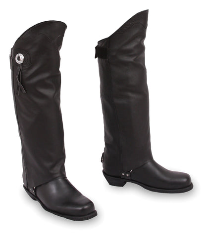 Asphalt Unisex Black Leather Half Chaps With Conhos