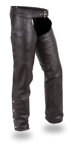 Rally Unisex Black Leather Motorcycle Chaps With Jean Style Pockets