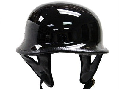 DOT Certified German Style Motorcycle Biker Helmet Gloss Black