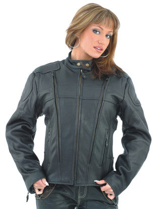 Ladies Cordura and Leather Racer Jacket with Front and Back Air Vents Gathered Sides