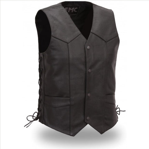 First Manufacturing Carbine Mens Light Weight Western Style Leather Motorcycle Vest Side Laces