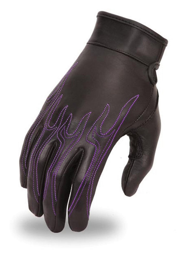 Womens Premium Analine Cowhide Motorcycle Glove with Embroidered Purple Flame Design