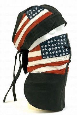 Leather Skull Cap Headwrap And Face Mask With USA American Flag