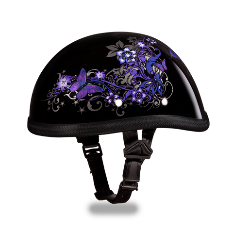 Novelty Eagle Motorcycle Helmet with Purple Butterfly