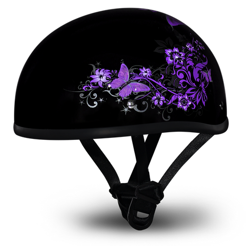 D.O.T Daytona Skull Cap Motorcycle Helmet with Butterfly