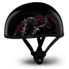 D.O.T Skull Cap Motorcycle Helmet with Barbed Roses