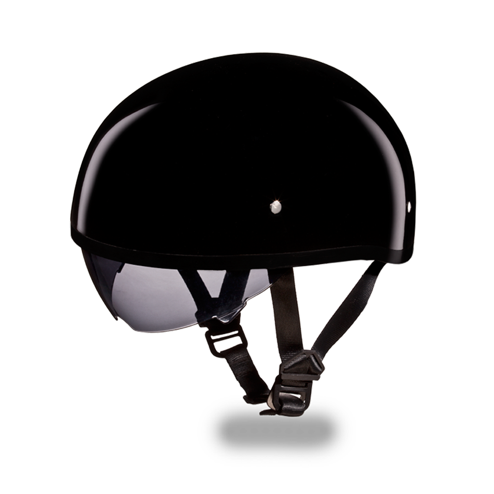 D.O.T Skull Cap Motorcycle Helmet with Inner Retractable Smoke Shield Gloss Black No Visor