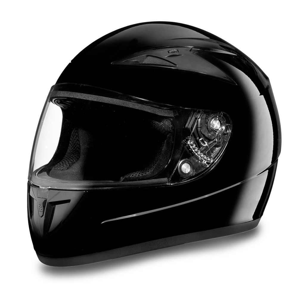 Daytona DOT Shadow Full Face Vented Motorcycle Helmet High Gloss Black