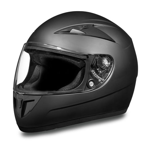DOT Shadow Full Face Vented Motorcycle Helmet Dull Black