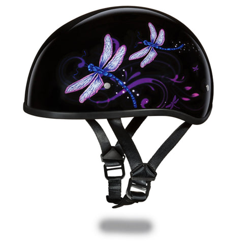 Daytona D.O.T Skull Cap Motorcycle Helmet With Dragonfly