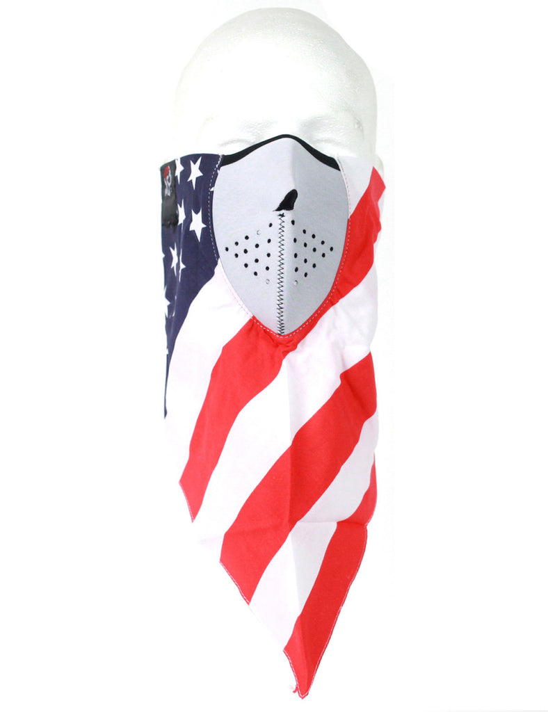 Neodanna USA Flag 100% Cotton Bandanna with Neoprene Face Mask