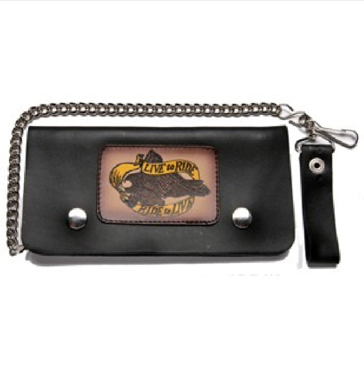 Black Leather Bifold Wallet with Live to Ride Ride to Live
