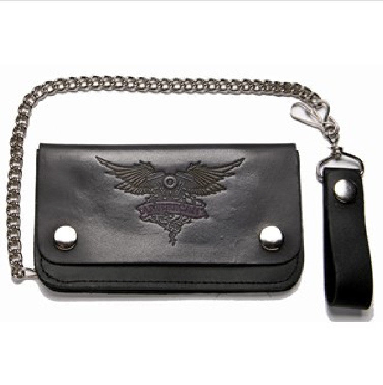 Black Leather Bifold Wallet With V Twin Motorcycle Engine and Wings