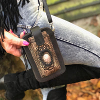 Leather Travel & Phone Pouch | Black Mandala Rose Quartz