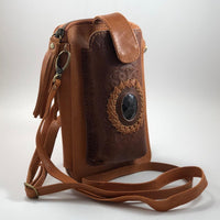 Leather Travel & Phone Pouch | Tan Gem