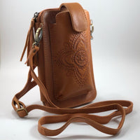Leather Travel & Phone Pouch | Tan Lotus