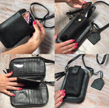Leather Travel & Phone Pouch | Boho Black