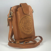 Leather Travel & Phone Pouch | Mandala Tan