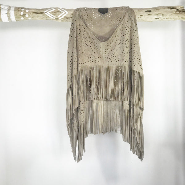 Beige Suede Poncho | MANDALA Leather Range by Industri Design
