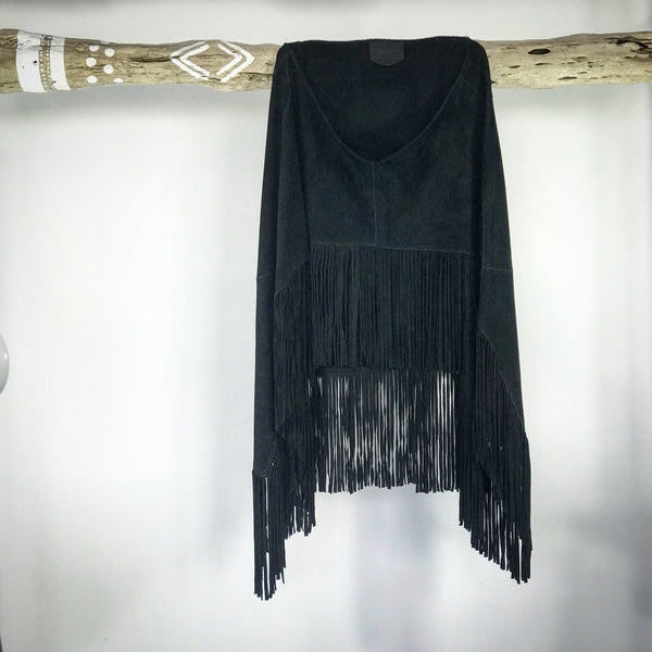 Black Suede Poncho | MANDALA Leather Range by Industri Design