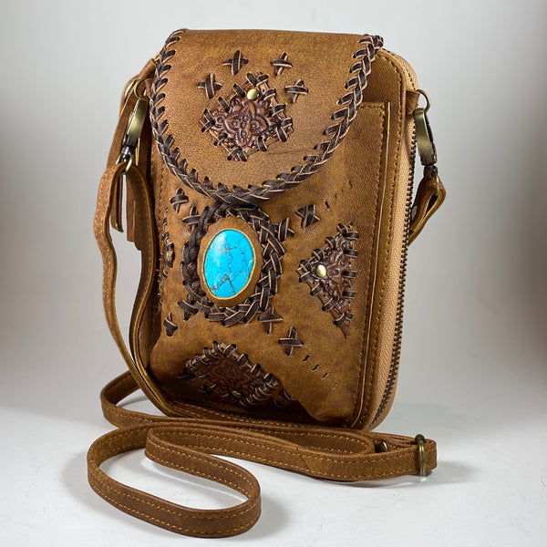 Tan/Chocolate Leather Turquoise Dyed Howlite/Travel Pouch