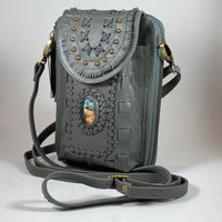 Labradorite Gemstone Charcoal Leather Phone/Travel Pouch