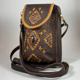 Tigers Eye Gemstone Chocolate Leather Phone/Travel Pouch