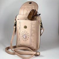 Rose Quartz Gemstone Leather Phone/Travel Pouch