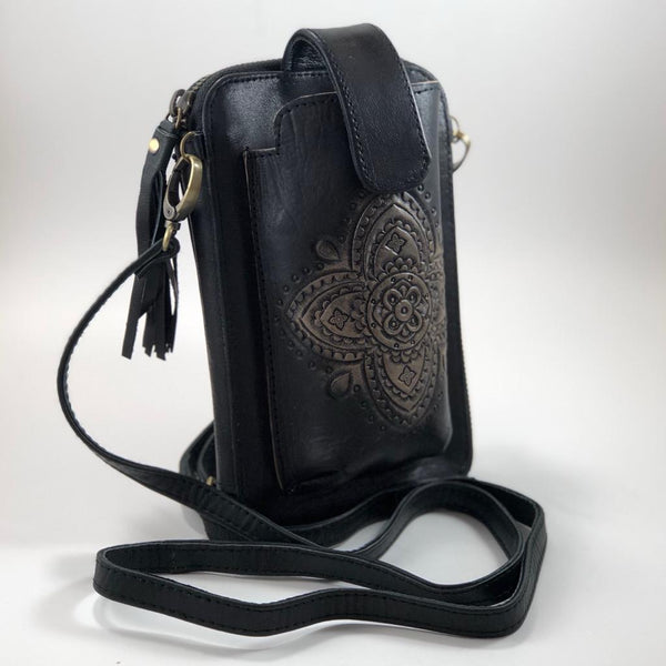 Leather Travel & Phone Pouch | Black Lotus