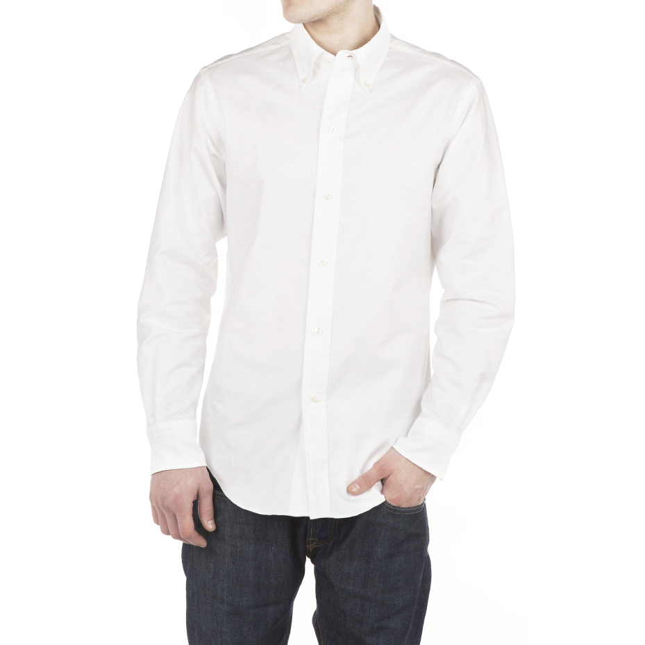 White oxford 50s button down shirt harry stedman for Brooks brothers garland shirt factory