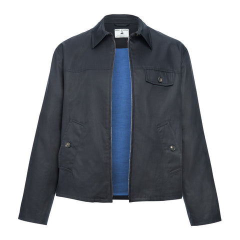 Navy Grenfell Cloth Drizzler Jacket