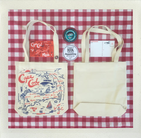 Cape Cod Tote Natual • Red & Blue