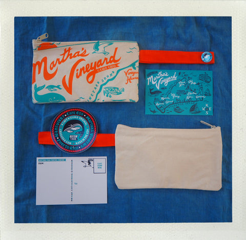 Martha's Vineyard Zip Pouch • Orange & Aqua