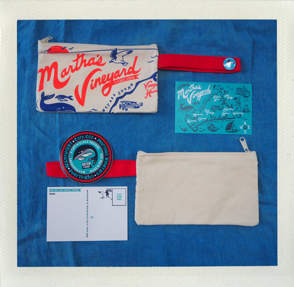 Martha's Vineyard Zip Pouch • Red & Blue