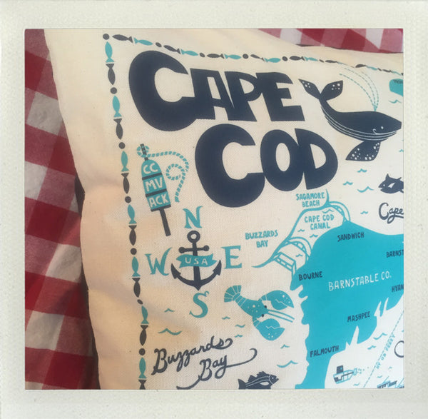 Cape & Islands Pillow • Natural Aqua Navy