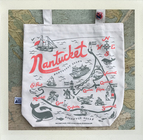 Nantucket Tote Natural - Red & Grey