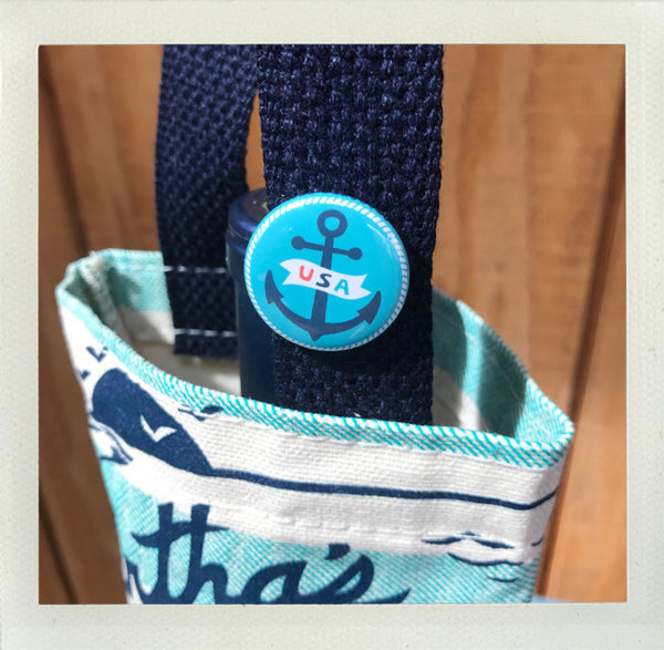 Martha's Vineyard Wine Tote Aqua