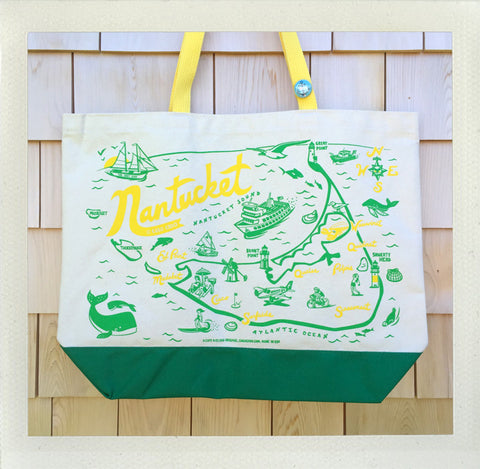 Nantucket Beach Tote • Yellow & Green
