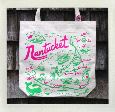 Nantucket Tote Natural - Pink & Green