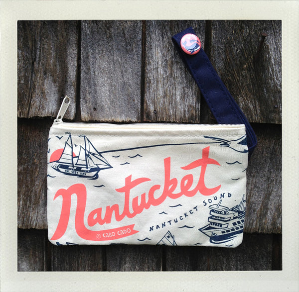 Nantucket Zip Pouch • Coral & Navy