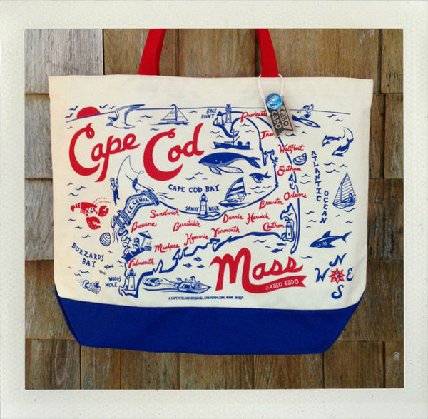 Cape Cod Beach Tote • Red & Blue