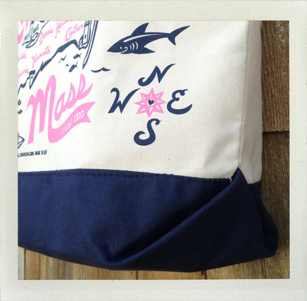 Cape Cod Beach Tote • Pink & Navy