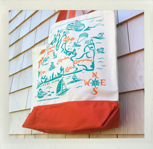 Martha's Vineyard Beach Tote • Orange & Aqua