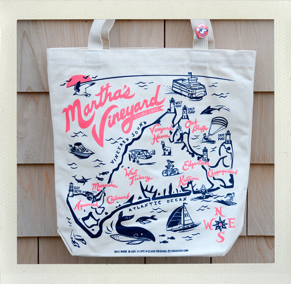 Martha's Vineyard Tote Natural • Coral & Navy